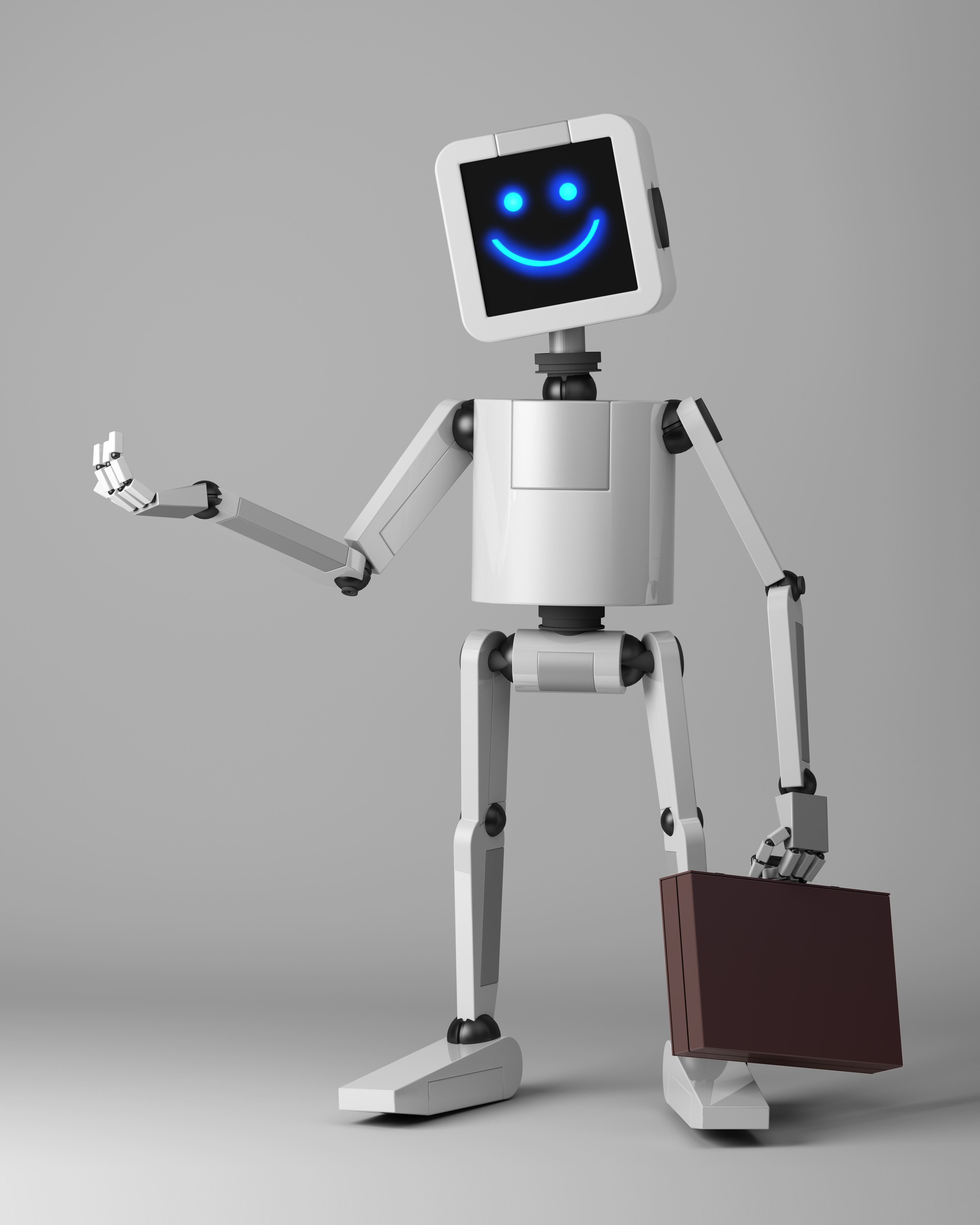 happy business robot with suitcase 3d render